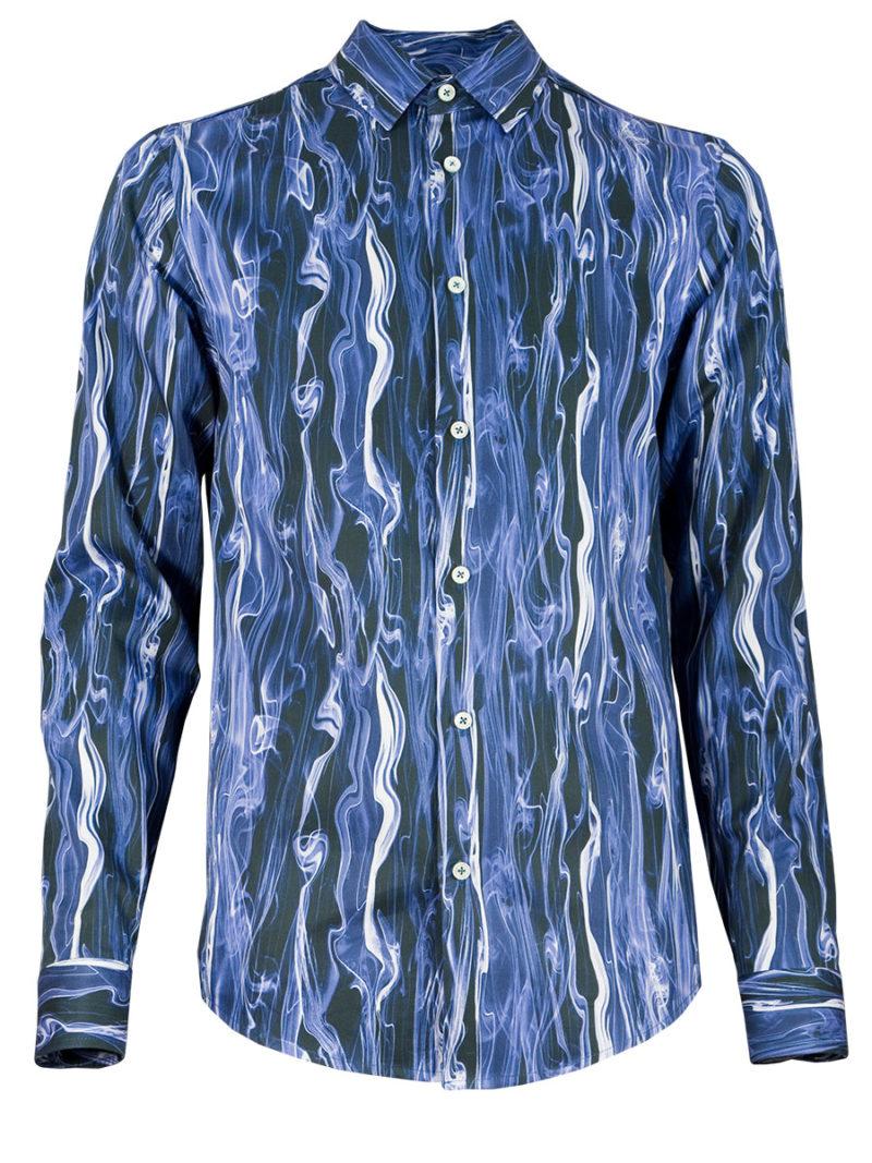 Außergewöhnliches Herrenhemd Blue Smoke - Paul von Alpen - unusual shirt