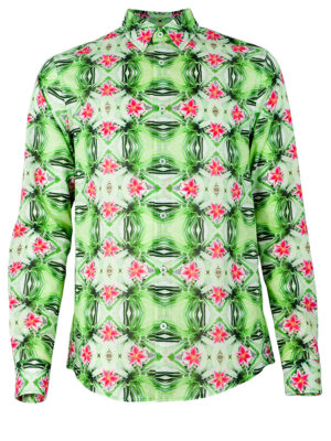 Herrenhemd Psycho Green - Paul von Alpen - colored print