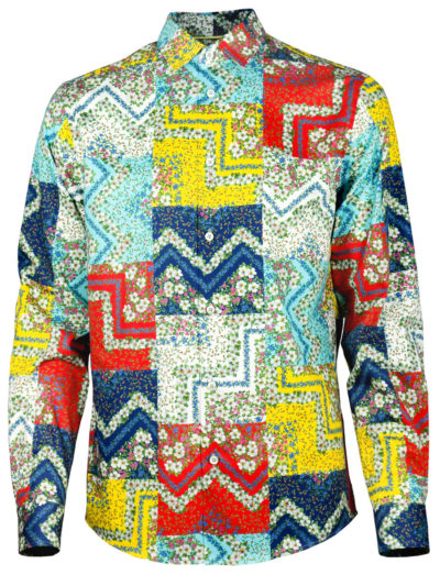 Farbenprächtige Herrenhemd Square Flowers - Paul von Alpen - colorful shirt